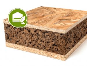 Panel sandwich con nucleo de corcho natural y acabado en OSB